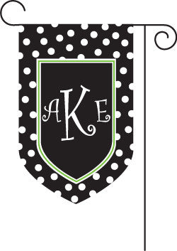 Monogrammed Black and Lime Polka Dot Garden Flag