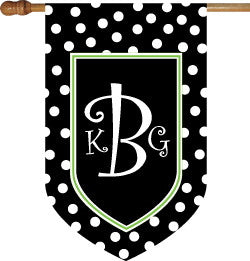 Monogrammed Black Polka Dot with Lime Border House Flag