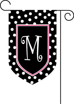 Monogrammed Polka Dot Black with Pink Border Garden Flag