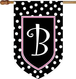 Monogrammed Black Polka Dot with Pink Border House Flag