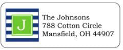 Navy and Green Block Address Label