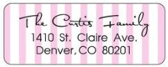Pink Stripe Address Label