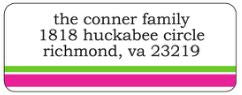Hot Pink and Green Stripe Address Label