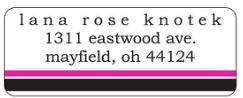Hot Pink and Black Stripe Address Label
