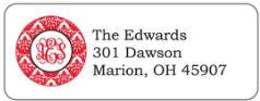 Red Damask Address Label