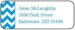 Blue Chevron Address Label