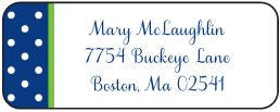 Dottie Navy and Green Address Label