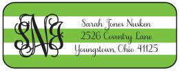 Green Stripe Address Label
