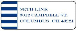 Navy Stripe Address Label