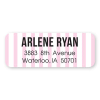 Pale Pink Stripes Address Label
