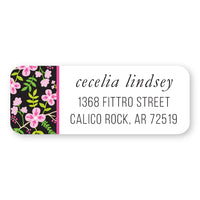 Pink and Black Floral Side Address Label