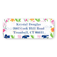Pink Floral Background Address Label