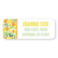Orange and Yellow Floral Side Address Label