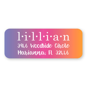 Purple/Pink/Orange Address Label