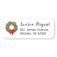Christmas Wreath Address Label