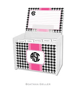 Alex Houndstooth Black Recipe Box