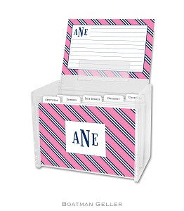 Repp Tie Pink & Navy Recipe Box