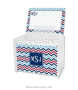 Chevron Blue & Red Recipe Box
