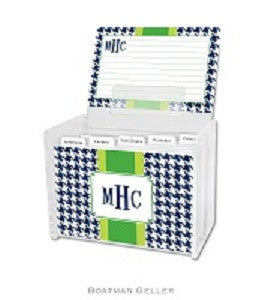 Alex Houndstooth Navy Recipe Box