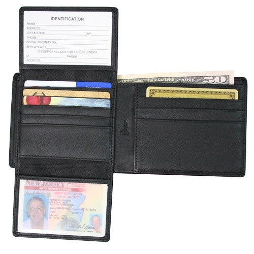 Monogrammed Leather RFID Blocking Euro Commuter Wallet