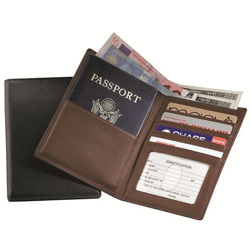 Monogrammed Leather  RFID Blocking Passport Currency Wallet