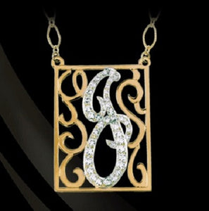 Rectangle Diamond Lace Initial Pendant