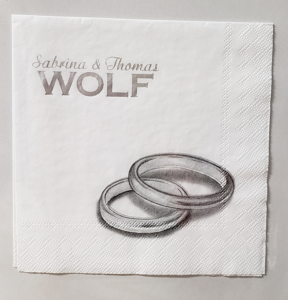 Custom Wedding Rings Beverage Napkin