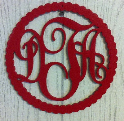 Rope Border Monogrammed Door Hanger