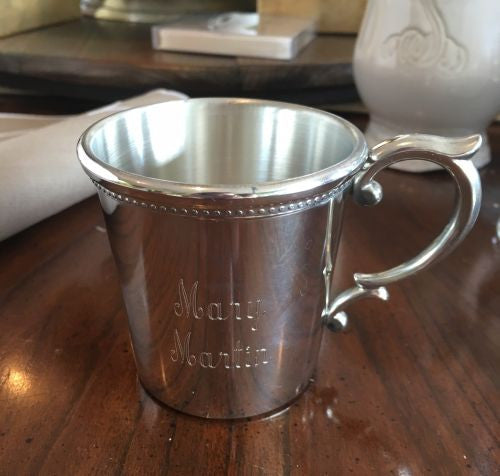 Engraved Pewter Louisiana Baby Cup