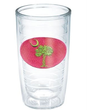 Monogrammed Pink and Green SC Flag Tervis Tumbler