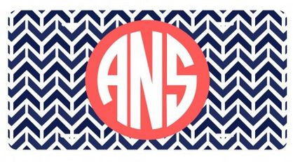 Personalized Navy Aztec License Plate