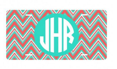 Personalized Coral Multi Chevron License Plate