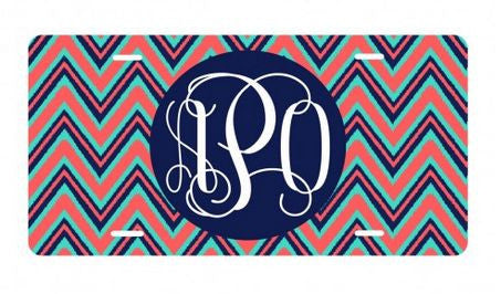 Personalized Navy Multi Chevron License Plate