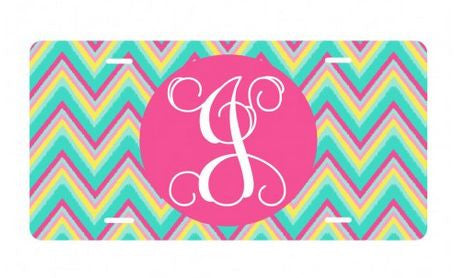Personalized Hot Pink Multi Chevron License Plate