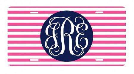 Personalized Hot Pink Stripe License Plate