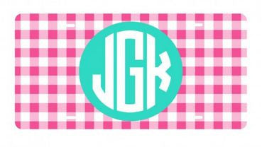 Personalized Hot Pink Gingham License Plate