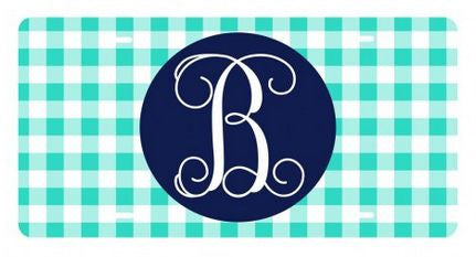Personalized Mint Gingham License Plate