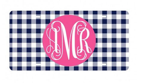 Personalized Navy Gingham License Plate