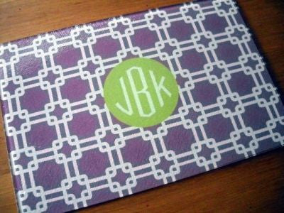 Monogrammed Plum Links Glass Cutting Board