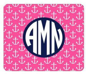 Personalized Hot Pink Anchor Mouse Pad