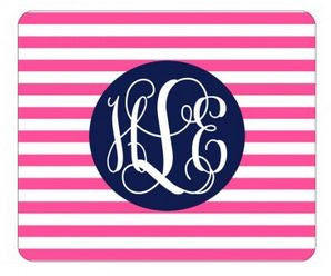 Personalized Hot Pink Stripe Mouse Pad