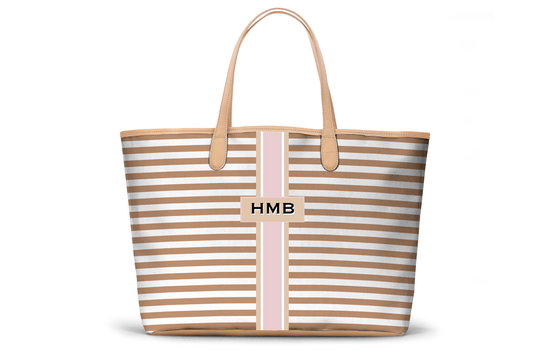 Monogrammed St Anne Diaper Bag - Sand Horizontal Stripe