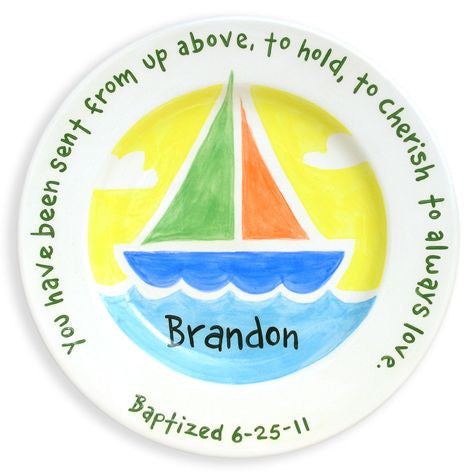Personalized Sailboat Baptism Plate