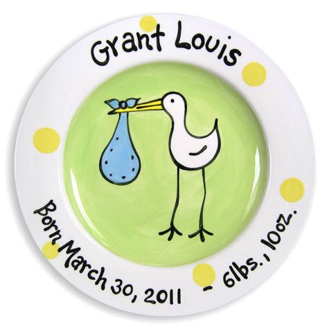 Personalized Stork Plate (Boy)
