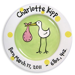 Personalized Stork Plate (Girl)