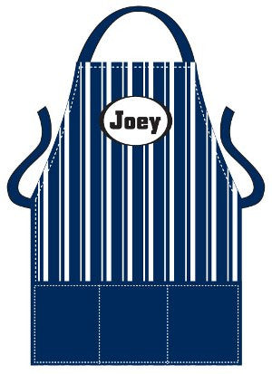 Monogrammed Blue Striped Dots Kids Apron