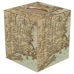 Antique Northeast Map Tissue Box Cover