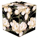 White Roses on Black Tissue Box Cover