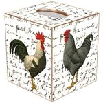Roosters on Script Tissue Box Cover