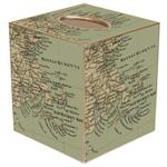 Antique Massachusetts and Nantucket Bay Map Tissue Box Cover